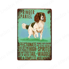 Dog Vintage Poster Metal Tin Wall Art Sign