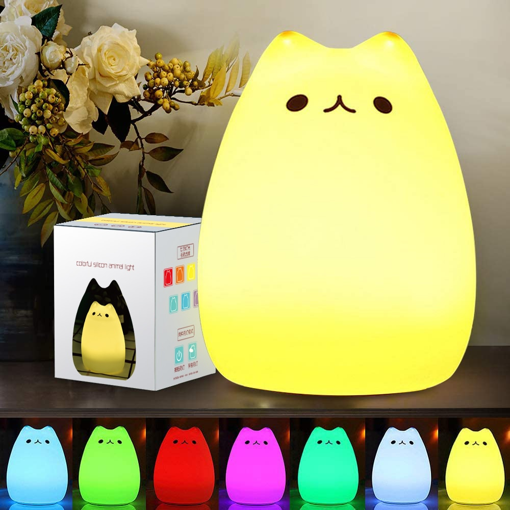 Cute Silicone Cat LED Night Light Lamp