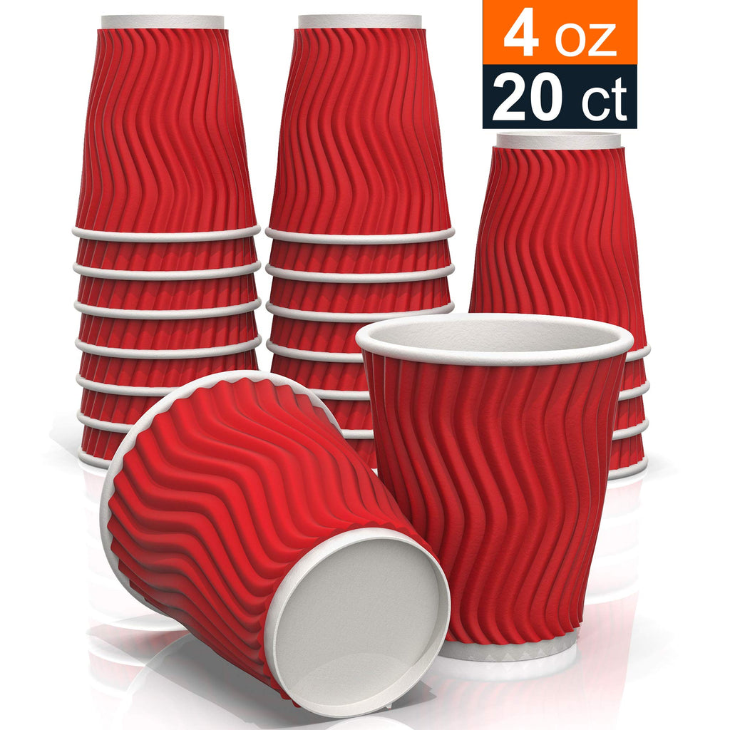 854434b5d01 Red Coffee Ripples Paper Cups (20 ct) - for Coffee Tea and cold Drinks