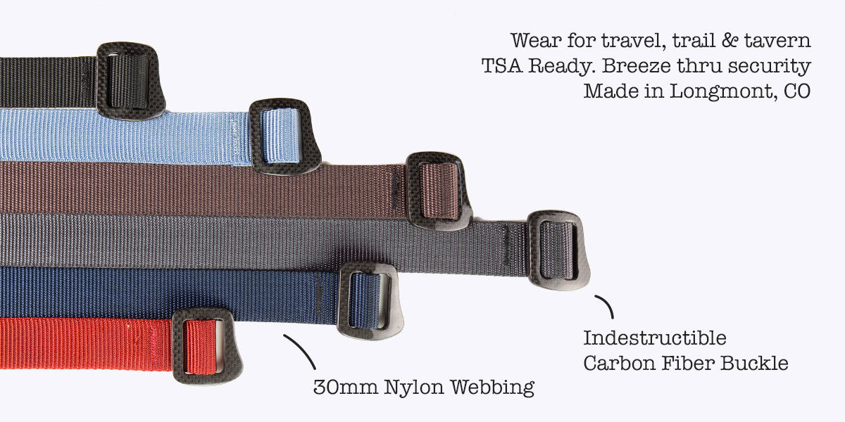 Bison Carbonator Belt. Wear for travel, trail and tavern. TSA Ready. Made in Longmont, CO, USA. Indestructible Carbon Fiber Belt. 30mm Nylon Rock Climbing Webbing.