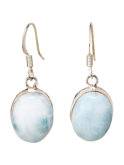 Oval Larimar Drop Earrings