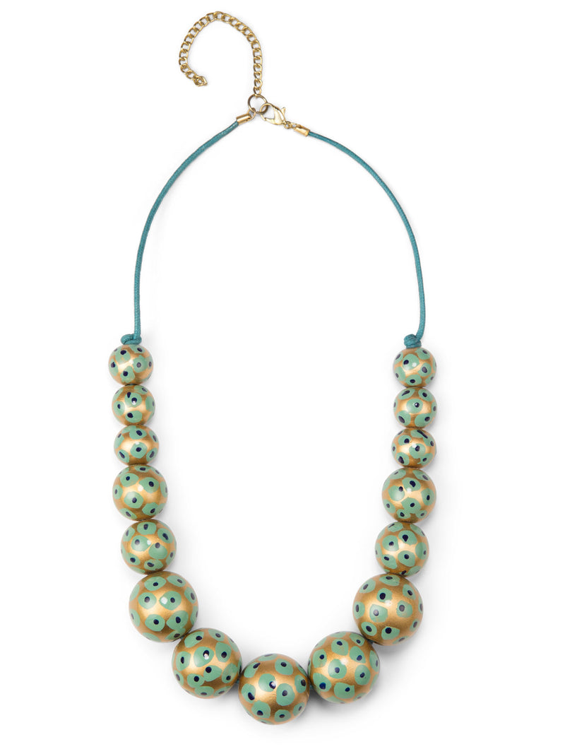 Rani Painted Bead Necklace - Turquoise & Gold