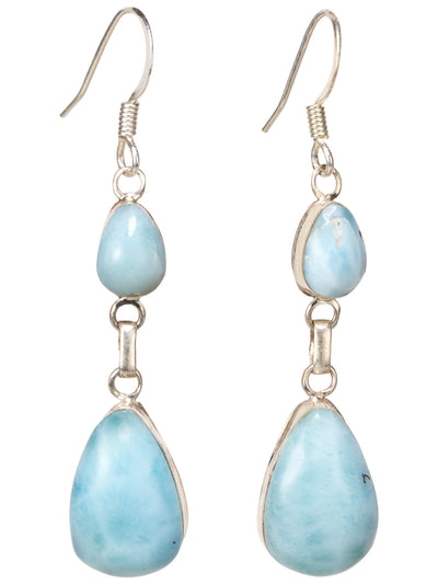 Double Larimar Drop Earrings