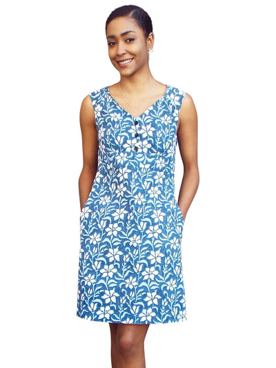 Aloha Blue Flowers Summer Dress