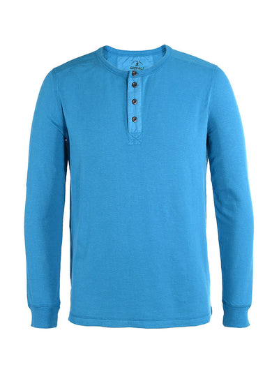 Men's Dawn Henley Hemp Cotton Blend - Vision Blue