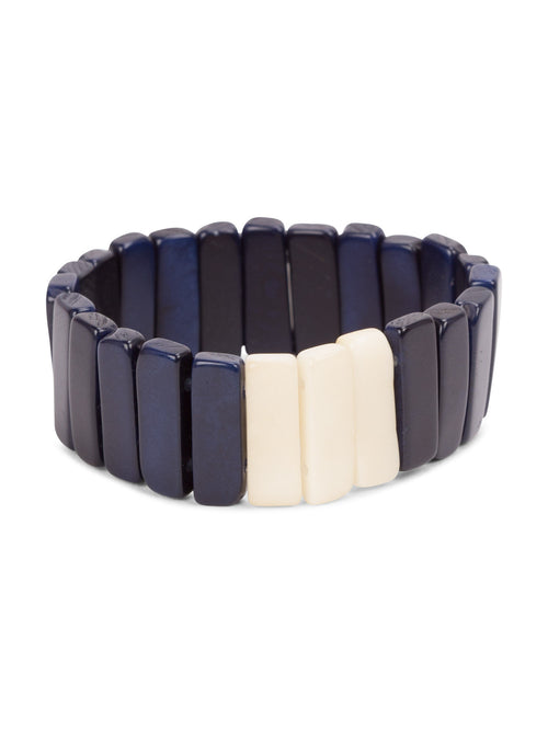 Scattered Pebble Bracelet - Navy Blue and Ivory