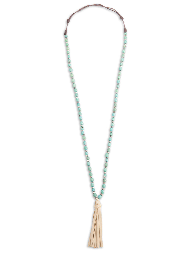 Anne Beaded Tassel Necklace - Turquoise