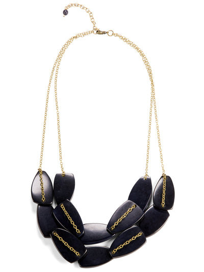 Scattered Pebble Collar Necklace - Navy Blue