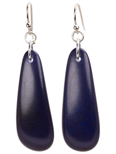 Moon Sliver Drop Earrings - Navy Blue