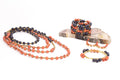 Colorblock Wrap Beaded Necklace - Apricot and Navy Blue