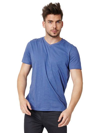 Jude Organic Cotton V-Neck Tee - Indigo Blue