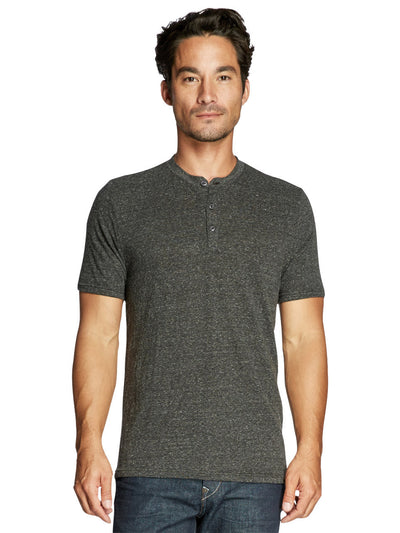 Baseline Triblend Short Sleeve Henley - Heather Black