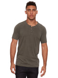 Organic Cotton Short Sleeve Henley - Army