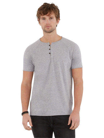 Organic Cotton Short Sleeve Henley - Marled Grey