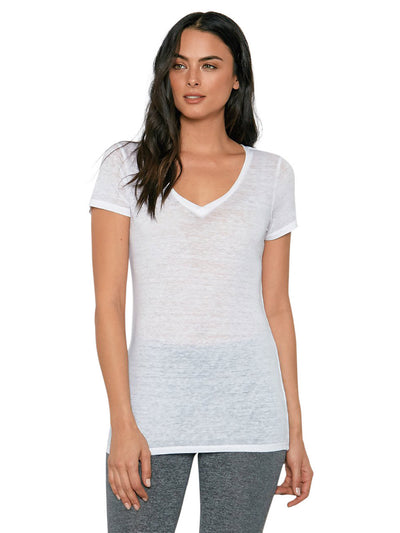 Vintage Wash Triblend V-neck Tee - White