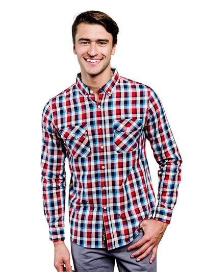 Hawkweed Plaid Organic Cotton Button Down Shirt - Orange & Navy Blue
