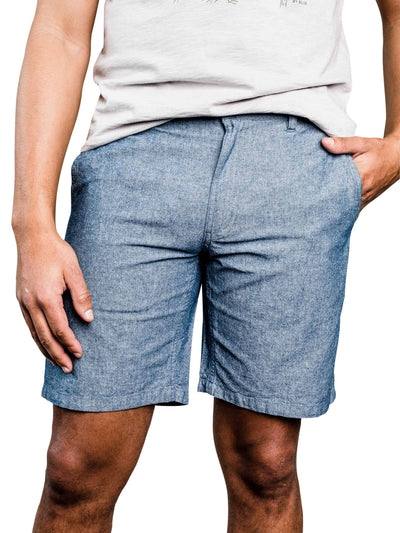 Selby Organic Cotton Chambray Shorts - Blue