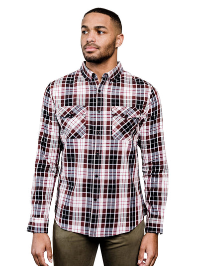 Speedwell Plaid Organic Cotton Button Down Shirt - Black & Brown