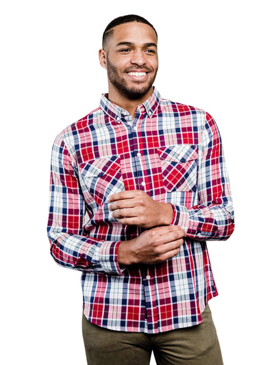 Speedwell Plaid Organic Cotton Button Down Shirt - Red & Navy Blue