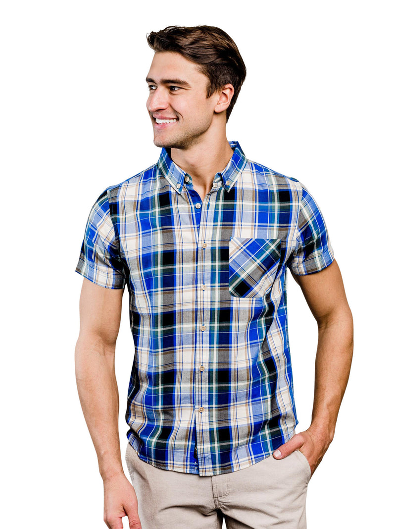 Springer Plaid Organic Cotton Button Down Shirt - Blue & Tan