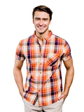 Springer Plaid Organic Cotton Button Down Shirt - Orange & Blue