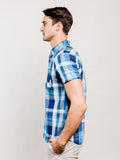 Washington Plaid Organic Cotton Button Down Shirt - Blue