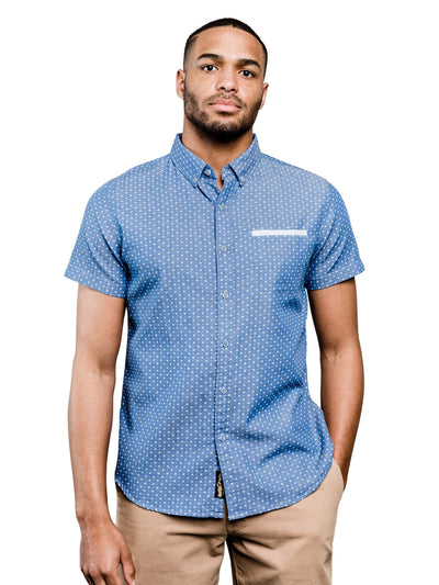 Wenlock Chambray Organic Cotton Button Down Shirt - Blue