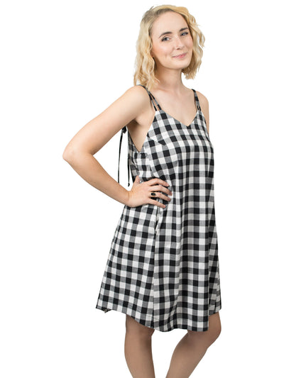 Summer Organic Cotton Slip Dress - Black Gingham