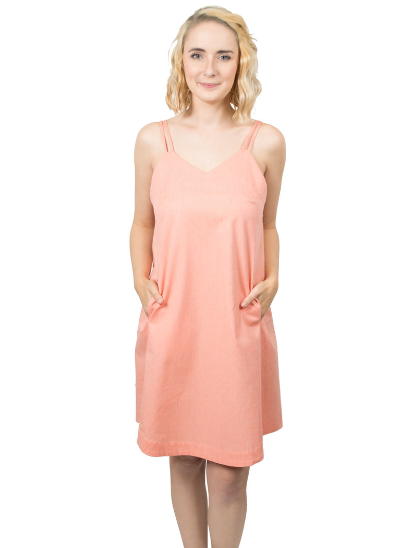 Summer Organic Cotton Slip Dress - Coral