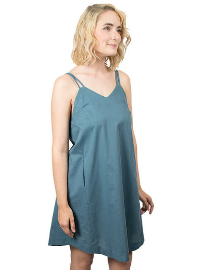 Summer Organic Cotton Slip Dress - Indigo