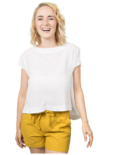 Lara Organic Cotton Tie Back Top - White