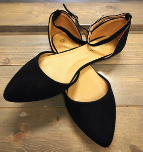 Suede Flats with Ankle Strap