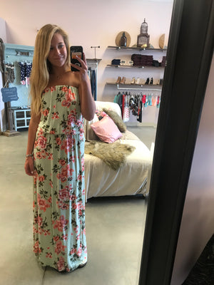 Strapless Floral Maxi
