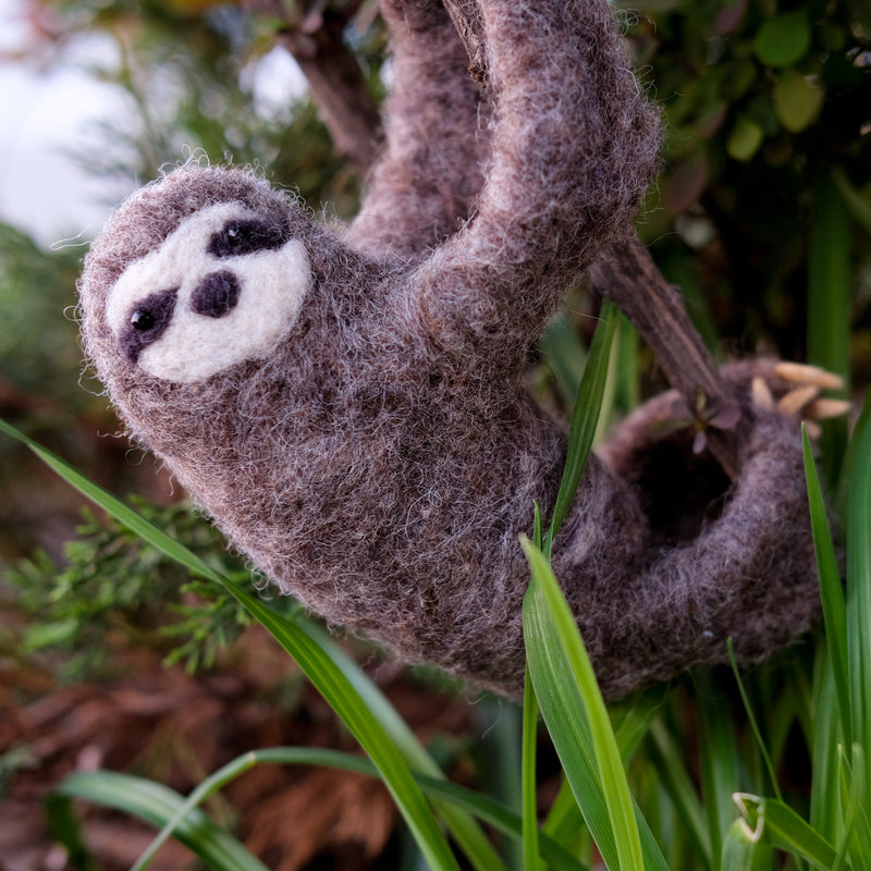 Miranda's Hanging Felted Sloth Friend