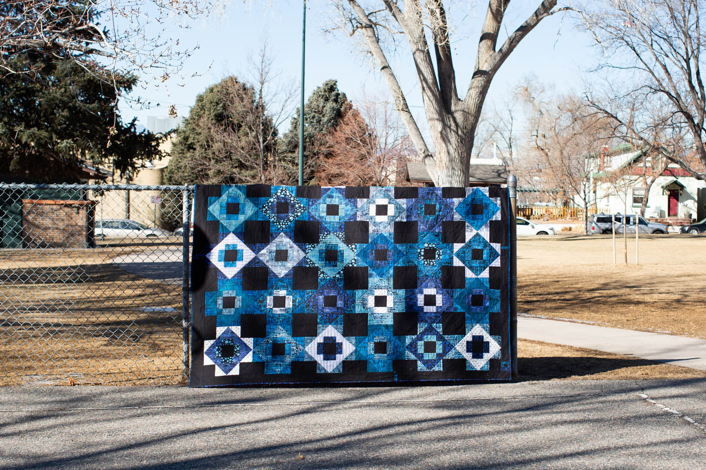 Patchwork quilt with tree