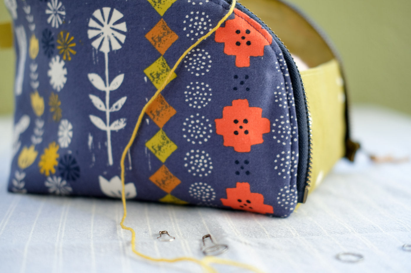 Alexia Abegg's Sunshine fabric made up in an Open-Out-Box-Pouch
