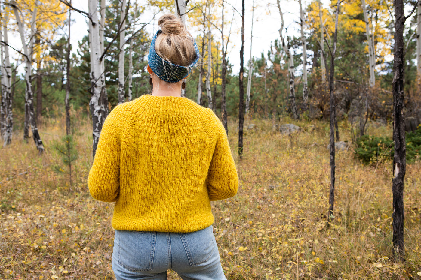 This is a photo of the back view of Amber's yellow sweater.