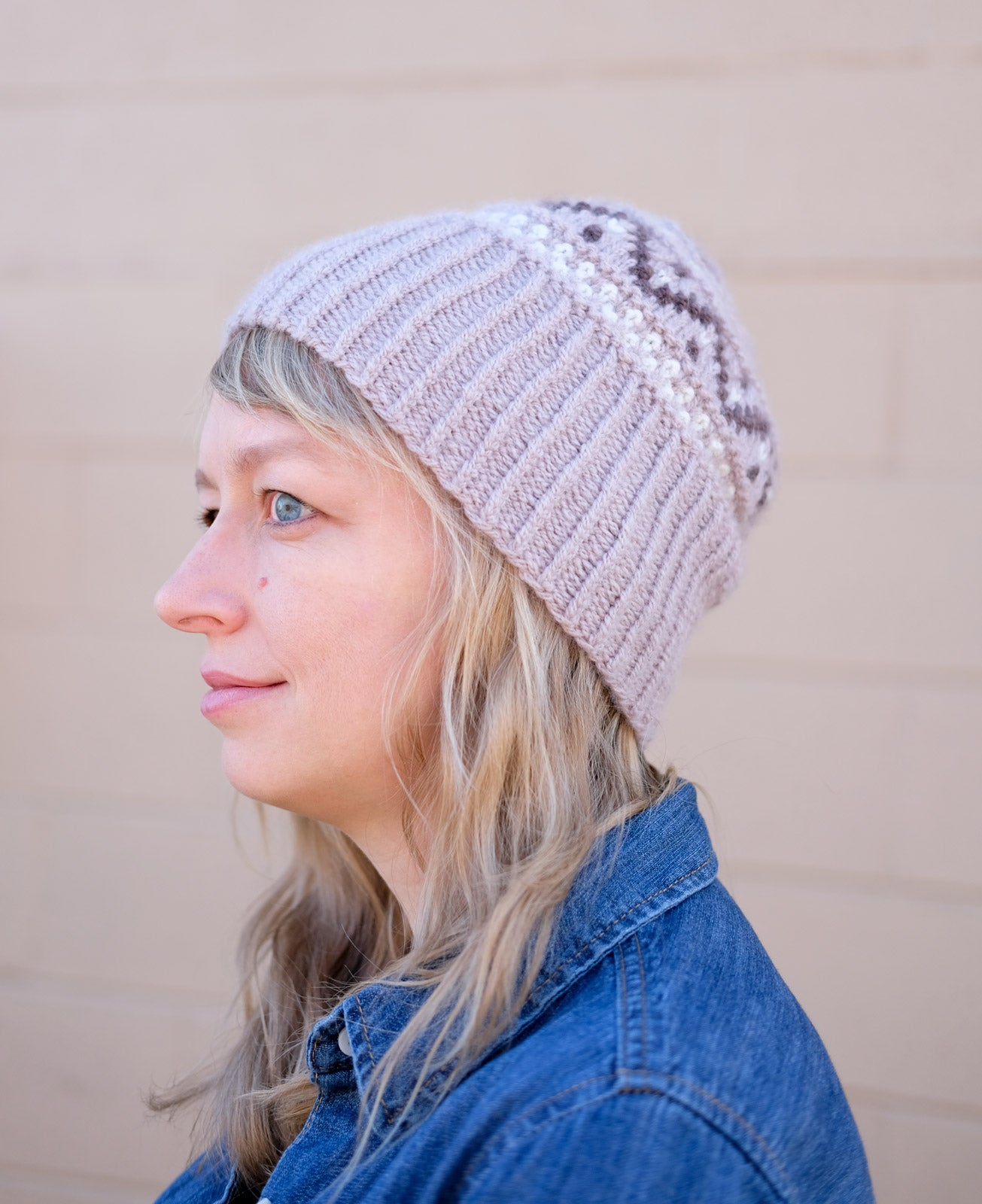 Amber Platzer Corcoran in her Woolfolk FAR Hjarn Hat
