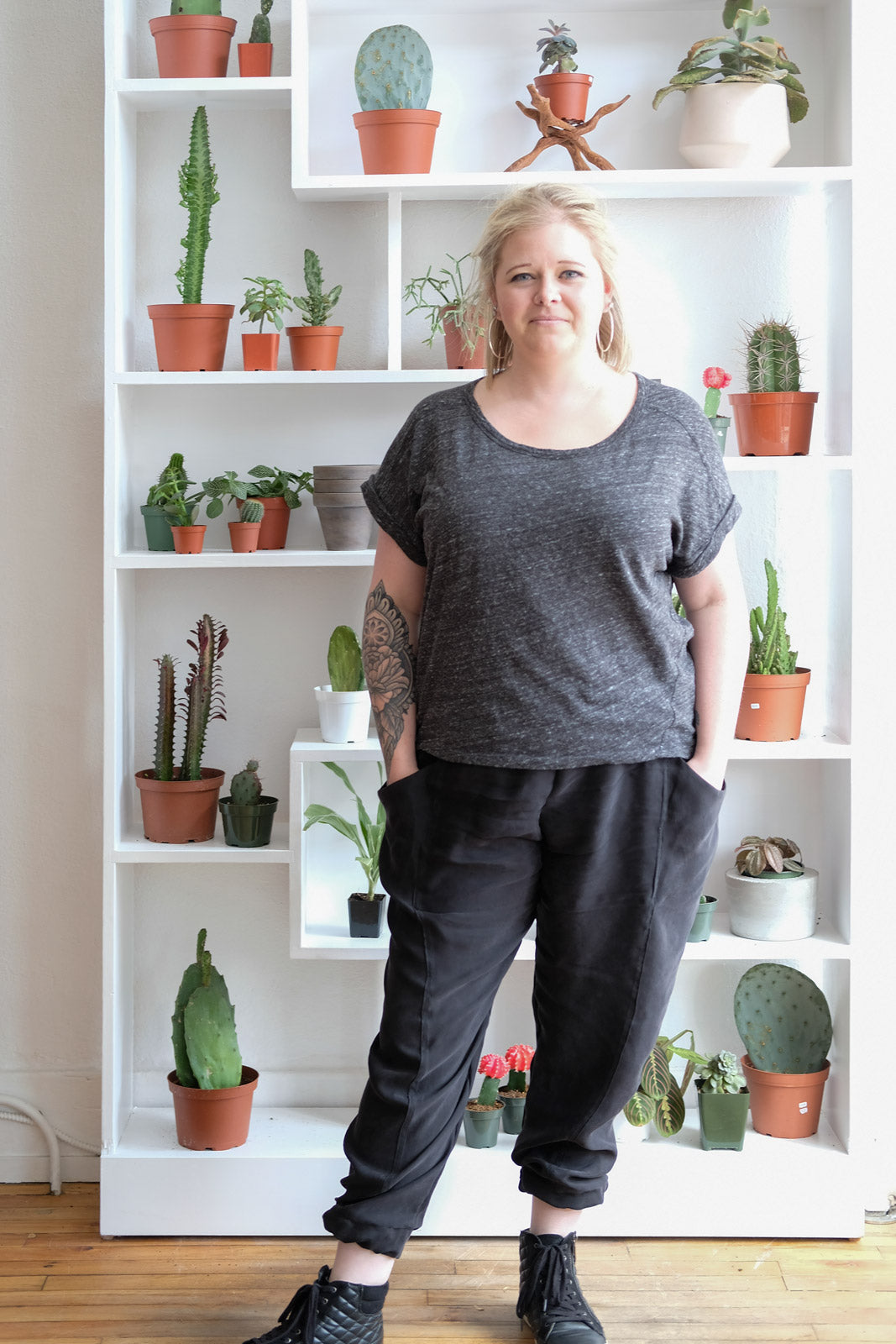 Heather's black Arenite Pants in Cupro Rayon