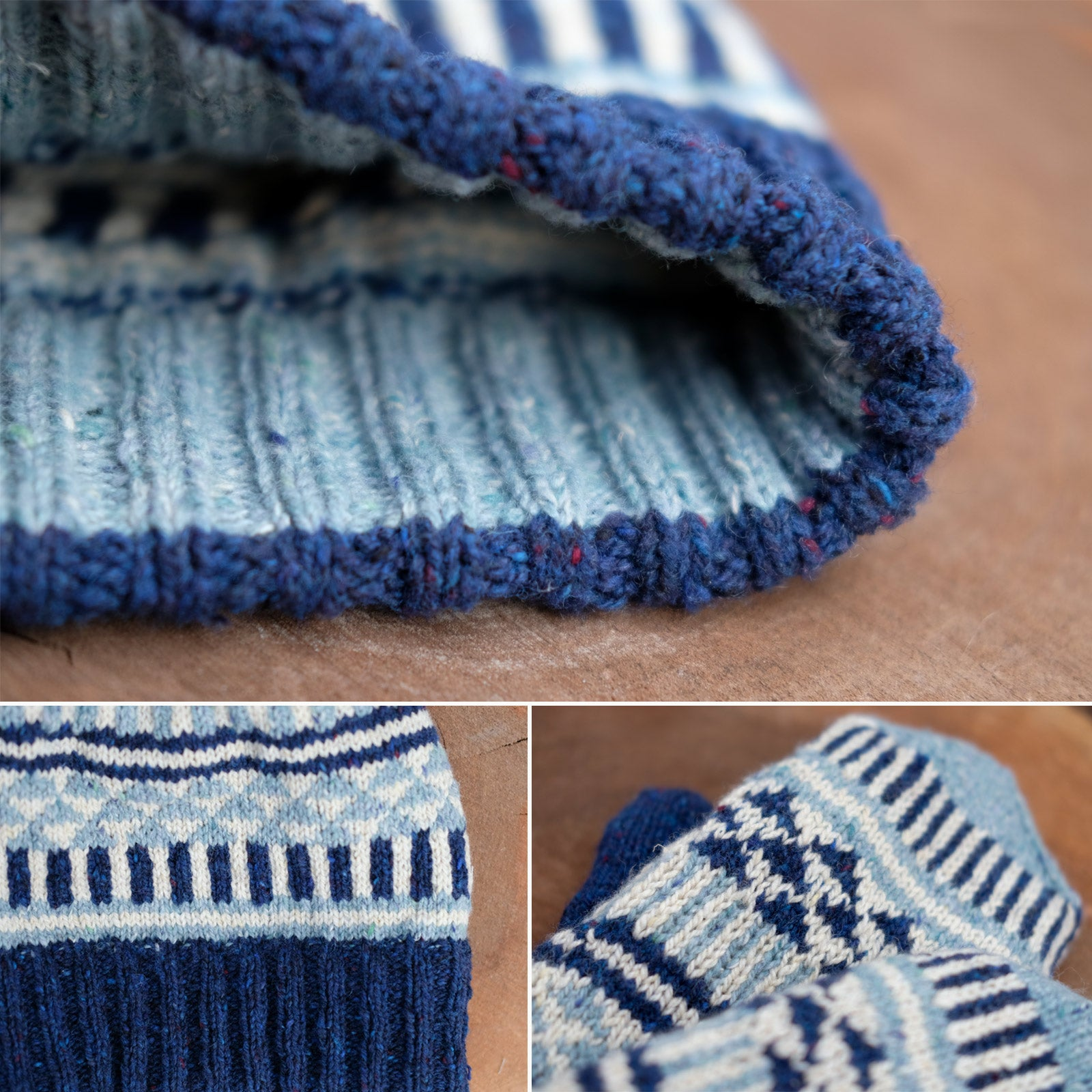 Detail shots of the Candy Darling hat and mitten set