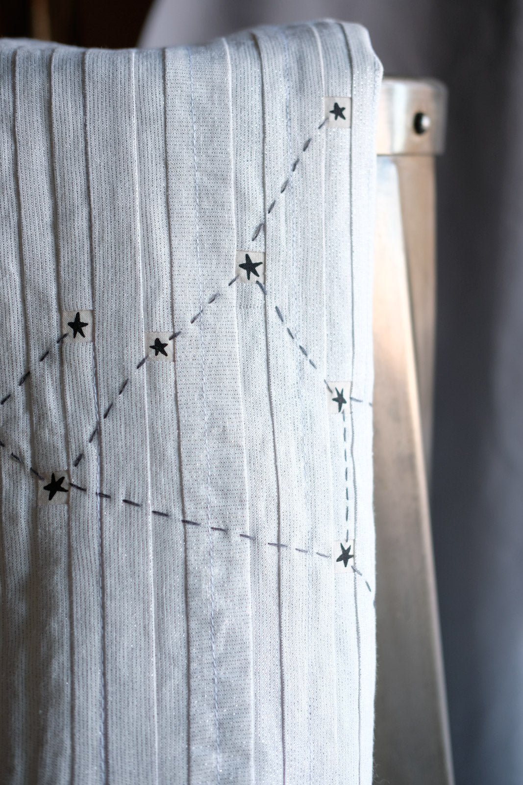 Detail of the hand stitched, fussy cut, Sagittarius Constellation Block Tea Towel
