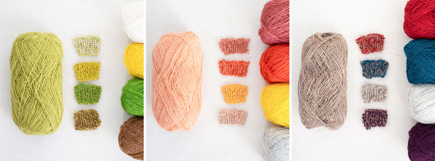 A triptych of images showing examples of how two-color marls look when one yarn color is paired with various colors. The first image shows a ball of muted lime green yarn on the right, and on the left - four balls of yarn to pair it with. From top to bottom on the right: white, yellow, vivid green, and oatmeal heather. Swatches showing each pair are centered between the balls. The next image has pale peach paired with a dusty rose, vibrant orange, yellow, and light ash heather. The third image has oatmeal heather paired with crimson, teal, white, and wine.