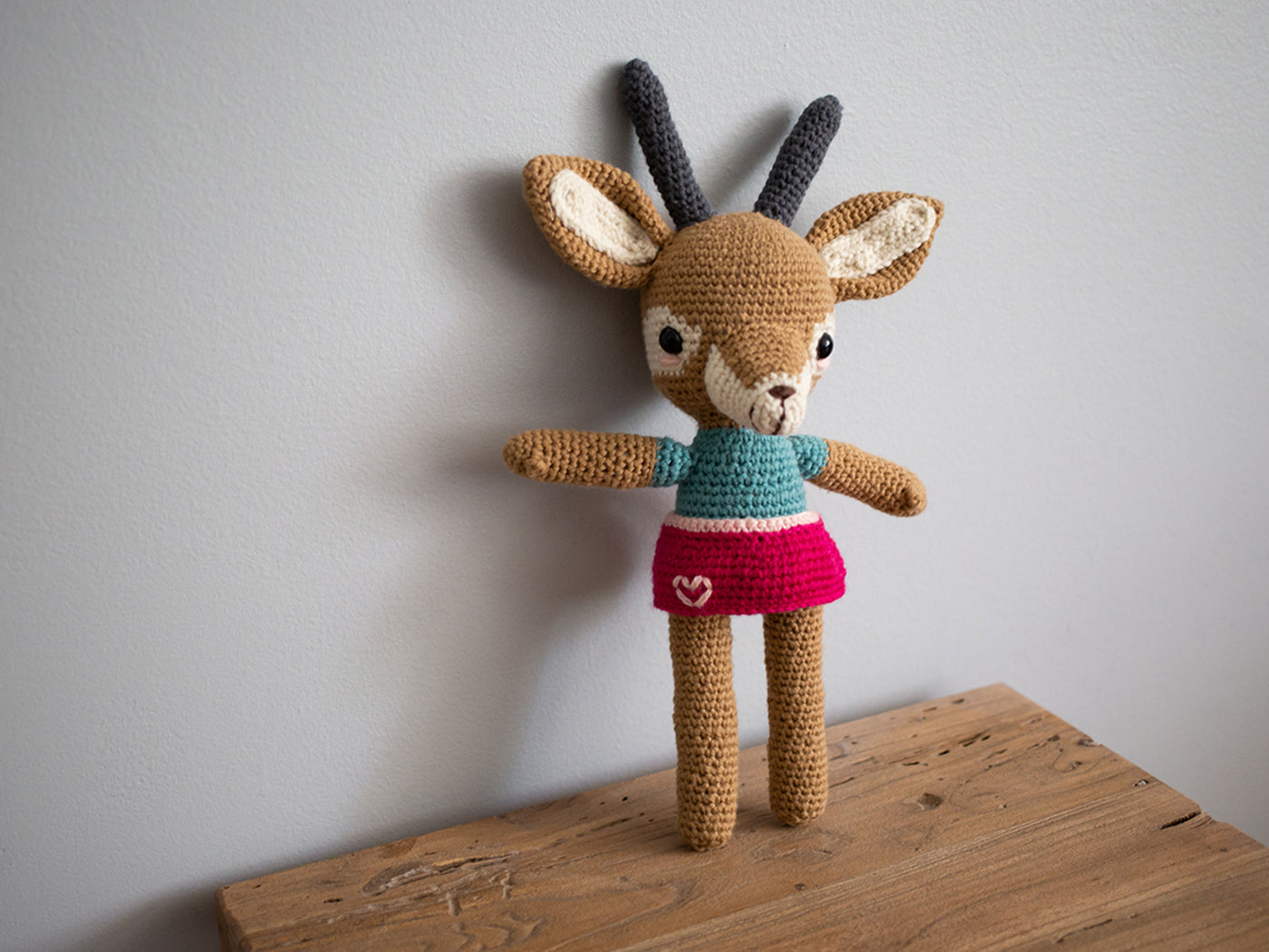 Tiffani's crocheted amigarumi Audrey Gazelle