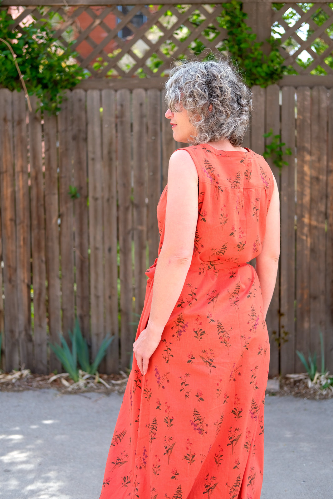 Back View of Jaime's favorite Red Linen Maxi Brome