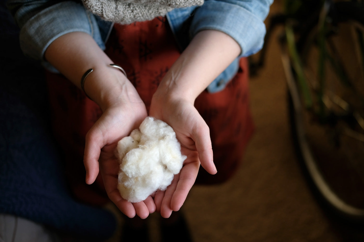 Cotton fiber from Amber's local town