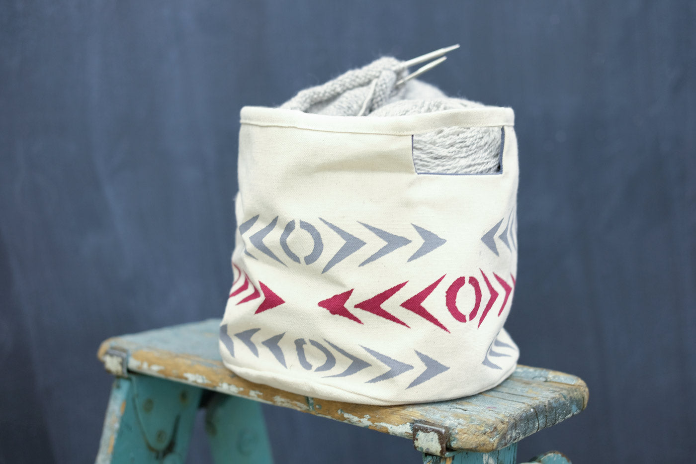 Hand printed basket by Sarah Case
