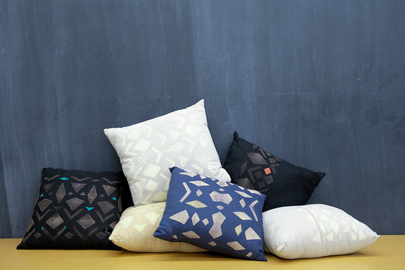 Hand-Printed and Embroidered Pillows
