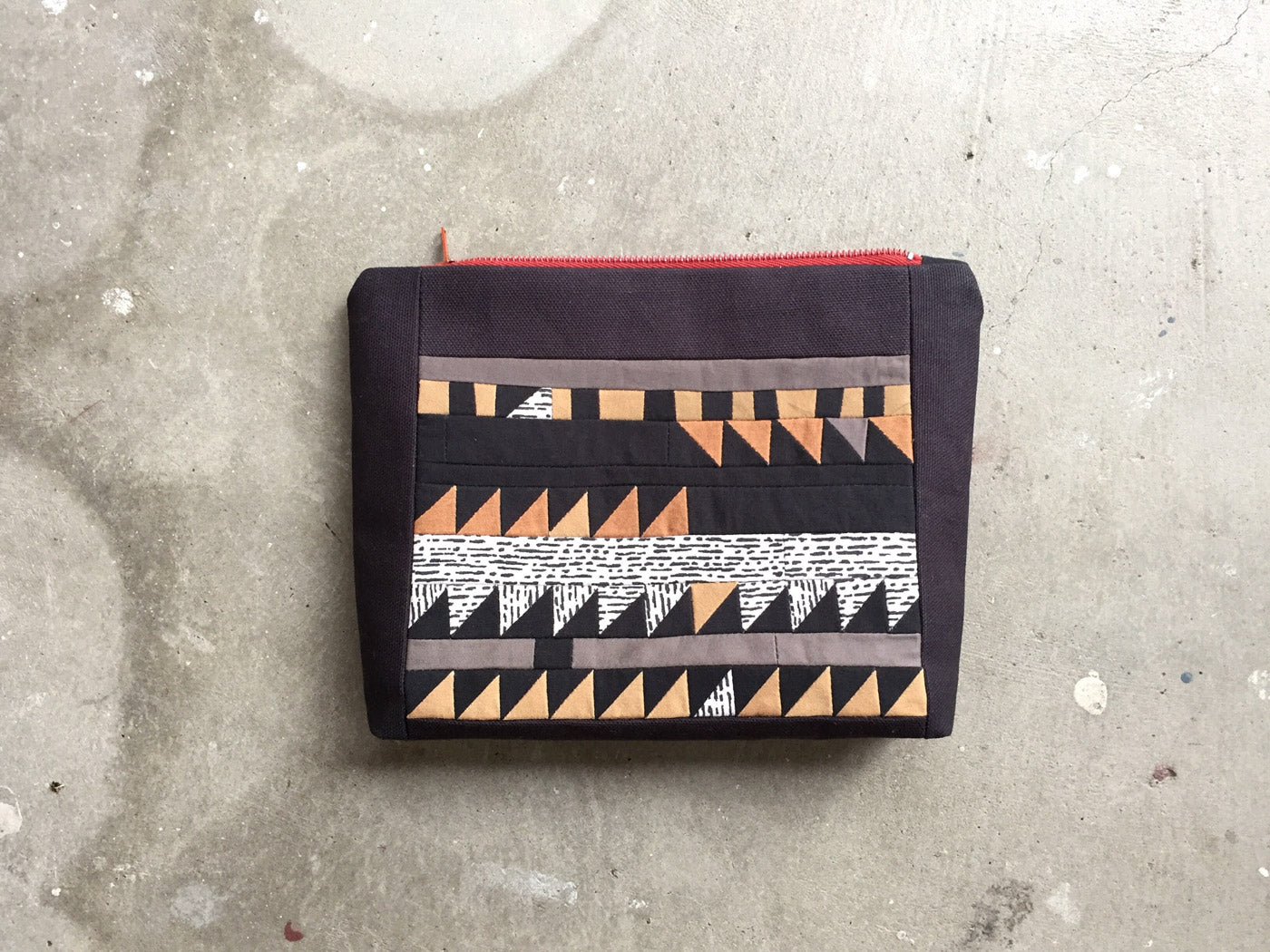 Small pieced zip top pouch by Sienna Parfitt