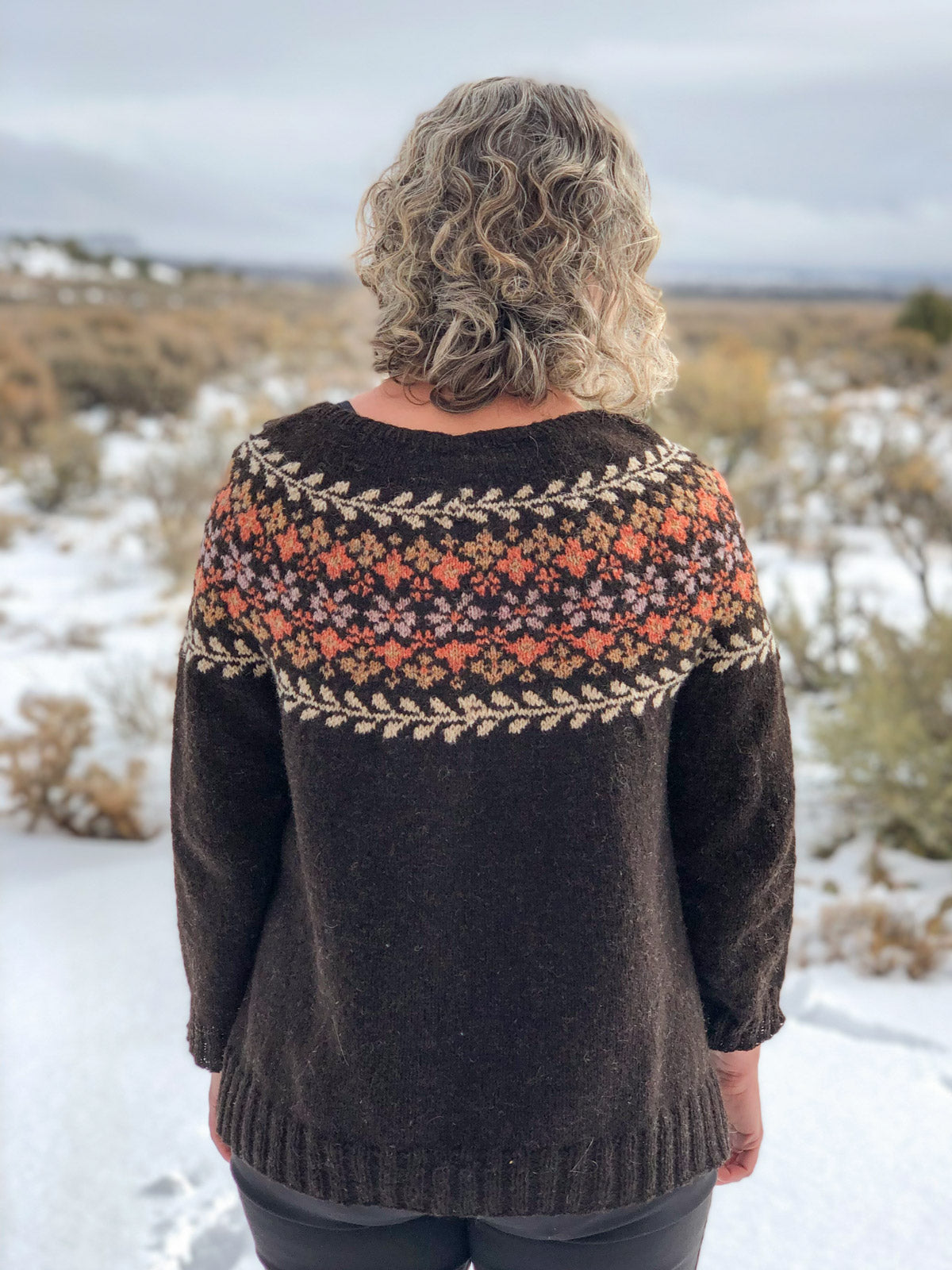 Back view of the yoked colorwork Birkin Sweater