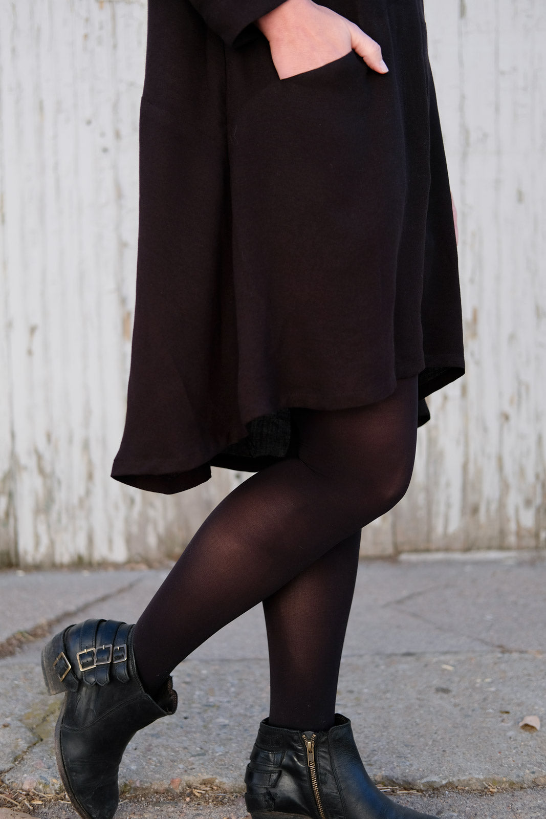 Jamie in her black crepe rayon Farrow from the waist down